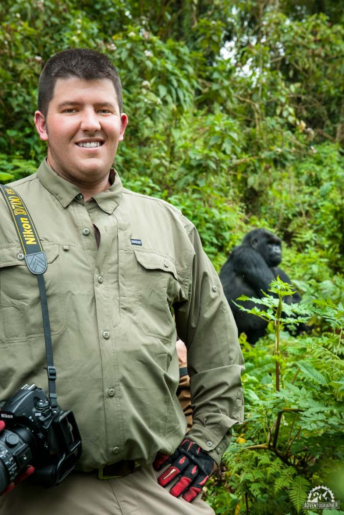 all geared up and ready for silverback gorilla trekking