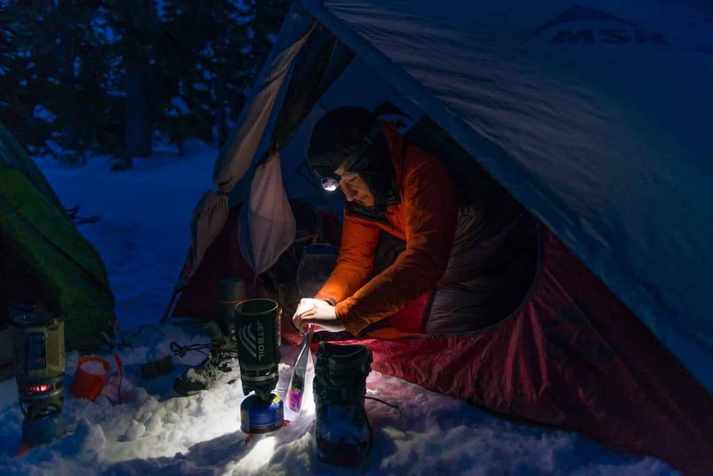 Cooking dinner in the backcountry with a jetboil stove from our tent