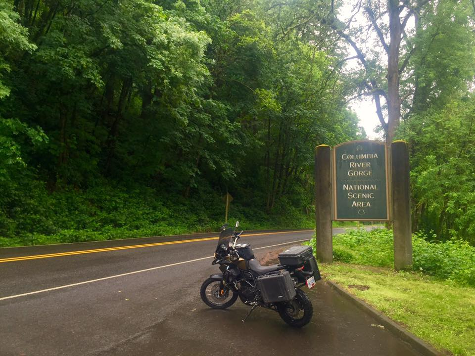 Motorcycle at the Columbia River Gorge and Multnomah Falls