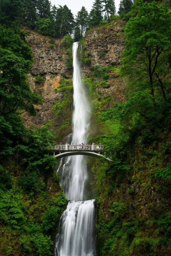 Classic view of Multnomah Falls in oregon