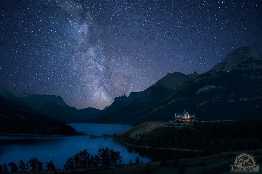 Prince of Wales hotel under the milky way, photographing waterton lakes national park