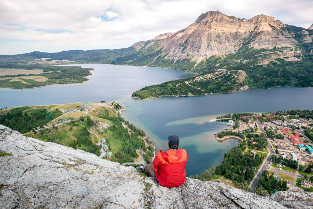 The view from the top of the bears hump trail hike in waterton lakes national park