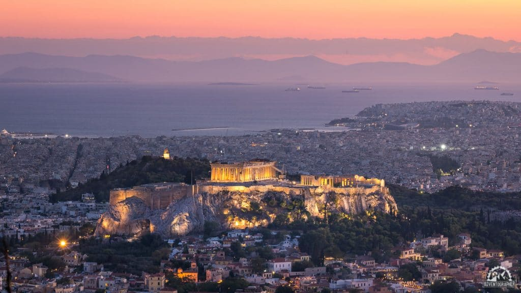 2 days in athens sunset from mount lycabettus