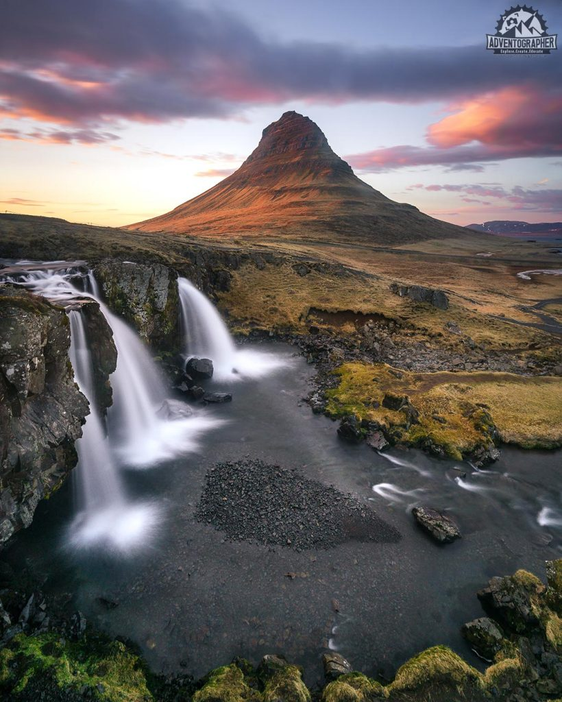 photographing waterfalls in Iceland