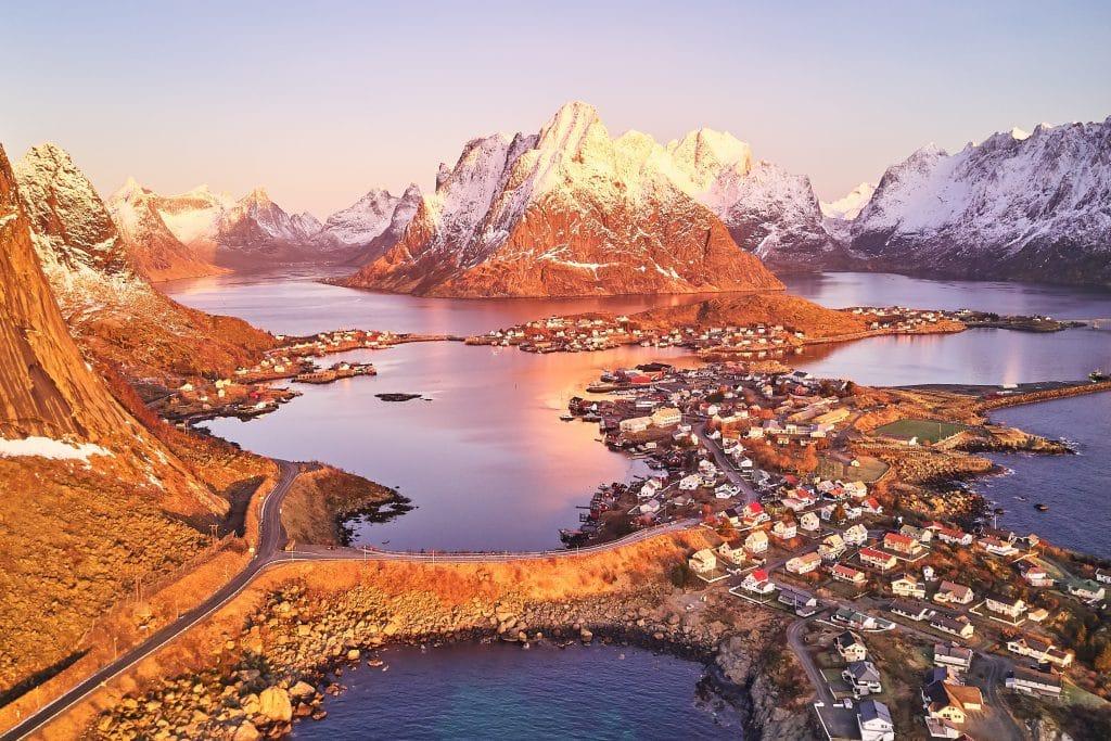Sunset in the Lofoten archipelago in Norway