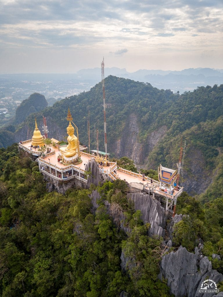 The Tiger Cave Temple in Krabi, Thailand as seen from a drone