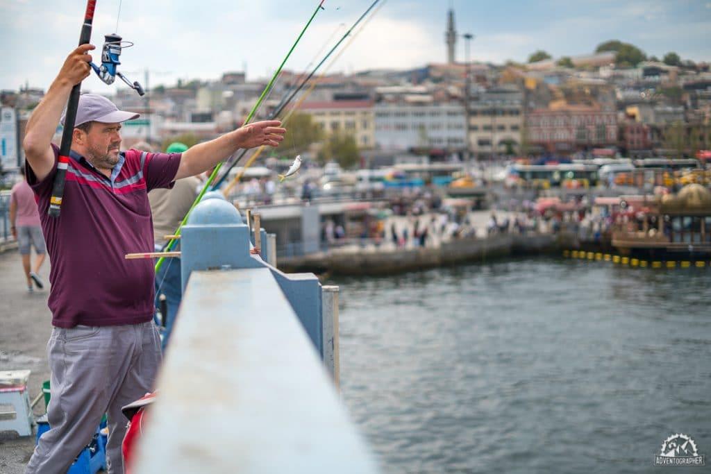 Fishing at Eminönü Wharf & Galata Bridge