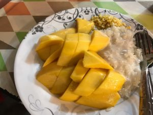 Mango Sticky rice is street food in thailand