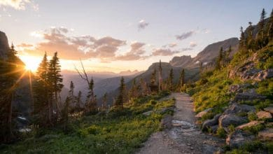Sunset while hiking in Glacier National Park