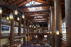 glacier lodge features timber framing and a huge common area
